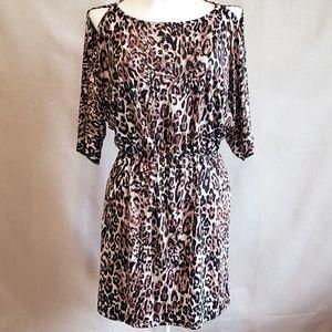 DEB cold shoulder Leopard slinky dress Small EUC